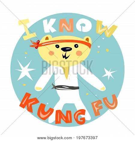 Cute bear kung fu master kids t-shirt designsticker. Sport kids illustration