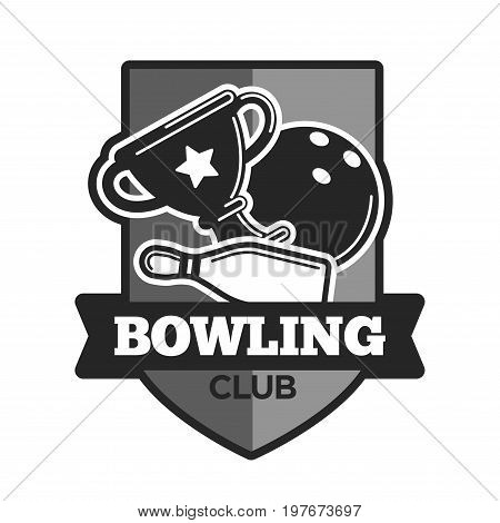 Bowling club logo template. Vector isolated icon of spot ball, skittle pins and winner cup goblet with star and ribbon on shield