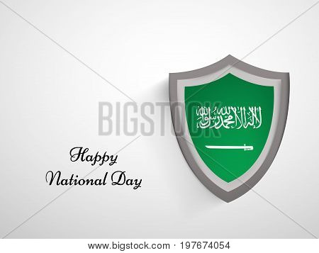 illustration of shield in Saudi Arabia flag background with Happy National Day text on the occasion of Saudi Arabia National Day