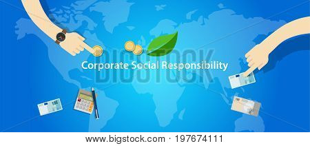 CSR corporate social responsibility company business help community vector