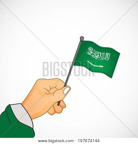 illustration of hand holding Saudi Arabia flag on the occasion of Saudi Arabia National Day