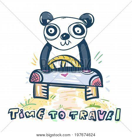 Panda drives car. Cute panda bear goes to travel. Children's illustration art fashion print and kids t-shirt