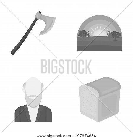ecology, history, nature and other  icon in monochrome style. bakery, wife, food, icons in set collection