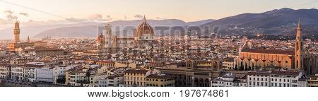 Beautiful panoramic view of Florence from Piazzale Michelangelo, Florence, Italy