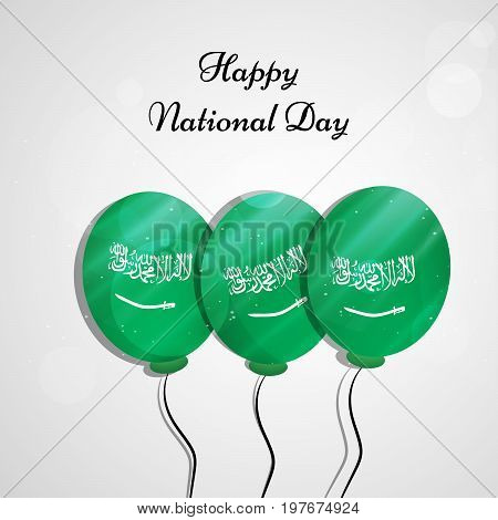illustration of balloons in Saudi Arabia flag background with Happy National Day text on the occasion of Saudi Arabia National Day