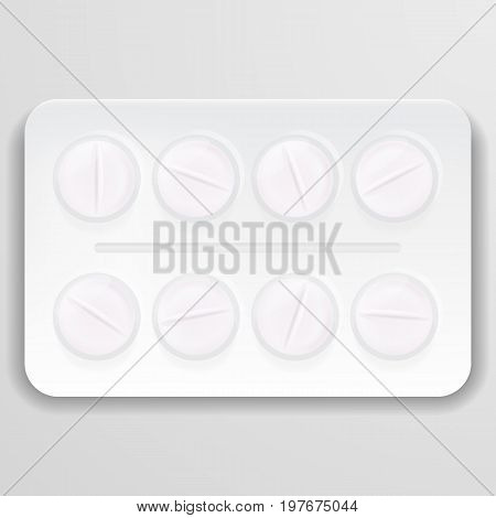 Pills In Pack. Tablets Pills In Box. Medical Drugs. Medicine Vitamins Pills In Blister Packs Isolated On A Background. Vector Illustration. Pharmaceuticals. Creative Medical Concept