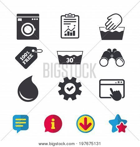 Hand wash icon. Machine washable at 30 degrees symbols. Laundry washhouse and water drop signs. Browser window, Report and Service signs. Binoculars, Information and Download icons. Stars and Chat