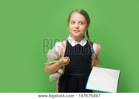 School Girl With Sly Face And Braids, Isolated On Green
