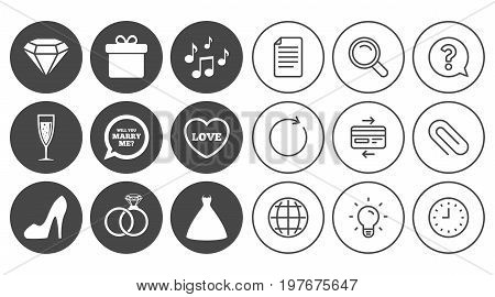 Wedding, engagement icons. Rings, gift box and brilliant signs. Dress, shoes and musical notes symbols. Document, Globe and Clock line signs. Lamp, Magnifier and Paper clip icons. Vector