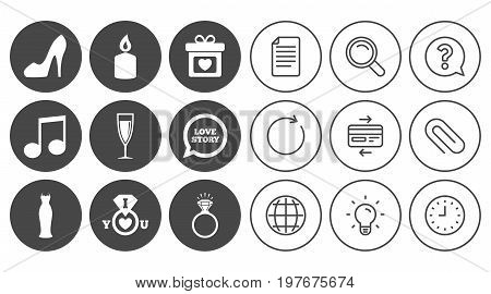 Wedding, engagement icons. Ring with diamond, gift box and music signs. Dress, shoes and champagne glass symbols. Document, Globe and Clock line signs. Lamp, Magnifier and Paper clip icons. Vector