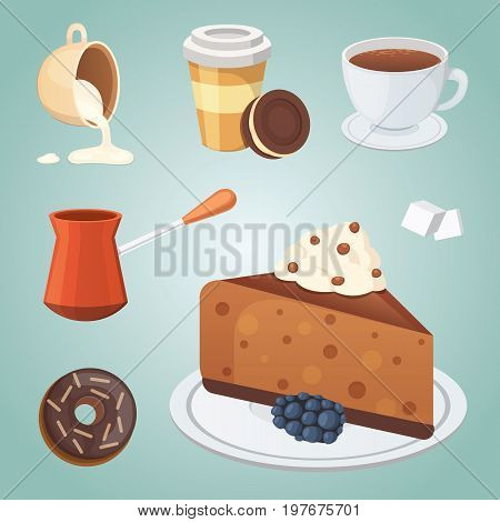 Cup of coffee, cappuccino, latte and chocolate food. Sweet deserts time