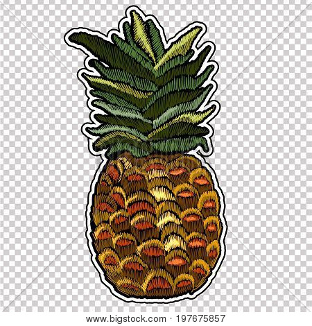 Embroidery pineapple. Classic embroidery tropical pineapple. Summer template for clothes textiles t-shirt design