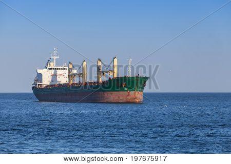 Empty Cargo Ship Sails On The Black Sea