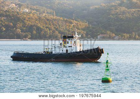 Tug Boat Is Underway On Black Sea