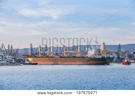 Bulk Carrier, Industrial Ship With Deck Cranes