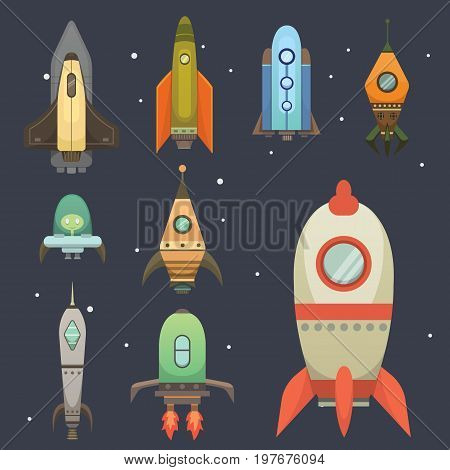 Rocket ship in cartoon style. New Businesses Innovation Development Flat Design Icons Template. Space ships illustrations set