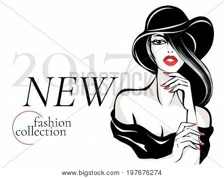 Black And White New Fashion Collection Advertisement With Beautiful Woman Model Portrait, Vamp Style