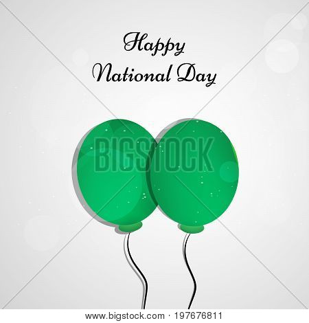 illustration of green balloons with Happy National Day text on the occasion of Saudi Arabia National Day