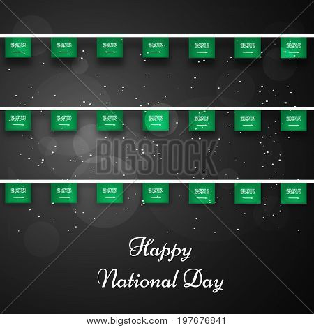 illustration of Saudi Arabia flags decoration with Happy National Day text on the occasion of Saudi Arabia National Day