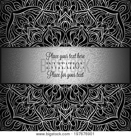 Baroque Background With Antique, Luxury Black And Metal Silver Vintage Frame, Victorian Banner, Dama
