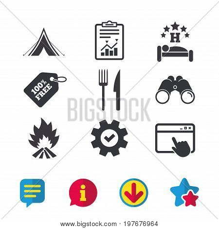 Food, sleep, camping tent and fire icons. Knife and fork. Hotel or bed and breakfast. Road signs. Browser window, Report and Service signs. Binoculars, Information and Download icons. Stars and Chat