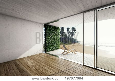Large terrace in modern house by the sea with deck chair and vertical garden. 3D illustration.