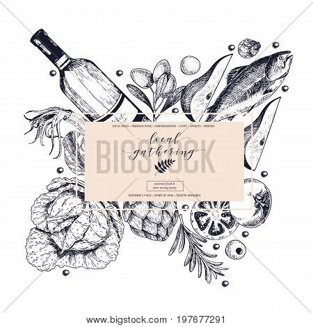 Vector hand drawn banner local gatherings. Frame composition. Wine, seafood, cheese, chicken meet, vegetables cabbage, pear, tomato, rosemary. Engraved art Sketched objects restaurant menu party