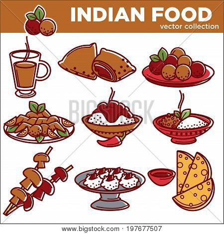 Indian cuisine food and traditional dishes flat icons. Vector set of chicken tandoori grill, curry rice pilaf vegetables or meat samosa, masala soup and saffron desserts, for restaurant menu