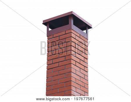 the brick smokestack isolated on white background