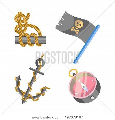 Marine equipment and nautical or pirate symbols set. Vector isolated ship anchor, piracy Jolly Roger flag with scull and crossbones, sailor knot and seafarer compass