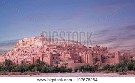 Panorama of Ait Benhaddou Casbah near Ouarzazate city in Morocco, Africa. Ait Benhaddou is a fortified city, or palace (ksar), along the former caravan route between the Sahara and Marrakech.