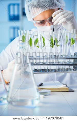 Biotechnology concept with scientist in lab poster