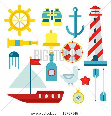 Marine and nautical theme symbols of ship anchor, helm and captain spyglass, sailing lighthouse or life buoy and sailboat paddle, seafarer compass and binoculars. Vector flat isolated icons set