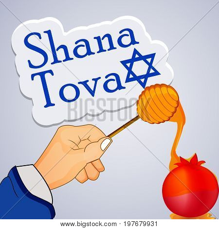 illustration of honey, hand and pomegranate with shana tova text on the occasion of Jewish New Year Shanah Tovah