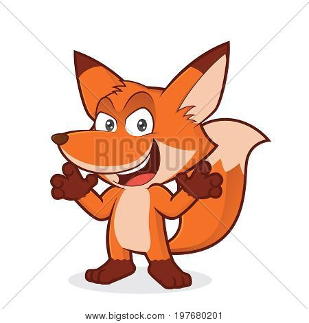 Clipart picture of a sneaky fox cartoon character