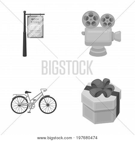 leisure, business, cinematography and other  icon in monochrome style.ribbon, decor, gift, icons in set collection