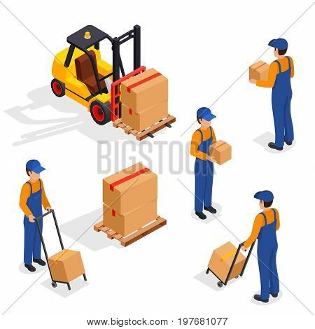 Forklift Truck With Delivery Workers Isolated on White Background, Vehicle Forklift Picks up a Box, Vector Illustration