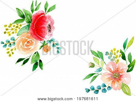 Greetings card abstract pink flowers with leaves isolated on white background, hand-painted watercolor illustration and paper texture