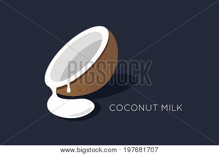 Coconut milk logo. Half of the coconut with flowing milk. isolated coco icon