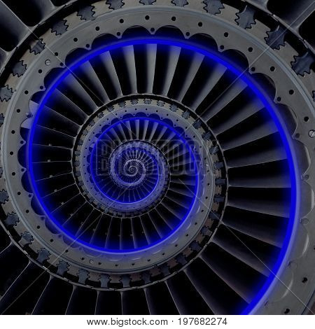 Turbine blades wings spiral effect abstract fractal pattern background. Spiral industrial production metallic turbine background. Neon light glow. Turbine manufacturing technology abstract fractal pattern staircase
