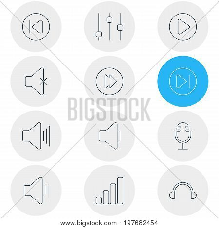 Editable Pack Of Stabilizer, Volume Up, Start And Other Elements.  Vector Illustration Of 12 Melody Icons.