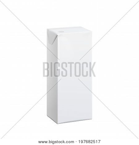 Realistic White carton pack 100 ml For juice, milk and other drinks. Vector illustration. Template For Mockup Your Design.