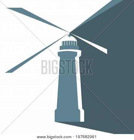 Lighthouse icon Navigation construction. Signal Beams. Searchlight