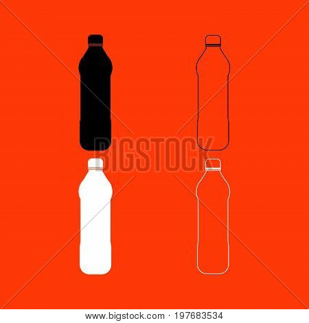 Water Plastic Bottle  Black And White Set Icon .