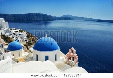 View of caldera from Oia village, Santorini island, Greece
