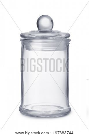 Front view of glass kitchen jar isolated on white