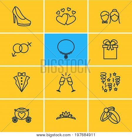 Editable Pack Of Chariot, Bridegroom Dress, Jewelry And Other Elements.  Vector Illustration Of 12 Marriage Icons.