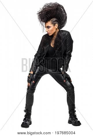 Young woman rock star isolated
