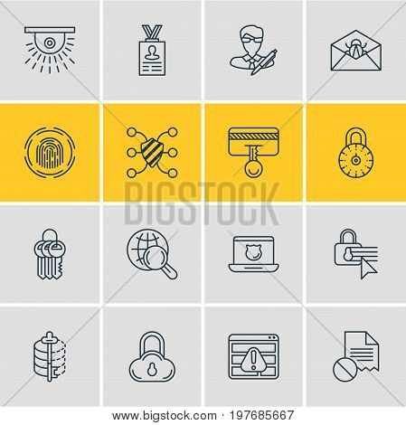 Editable Pack Of Account Data, Safety Key, Data Security And Other Elements.  Vector Illustration Of 16 Protection Icons.