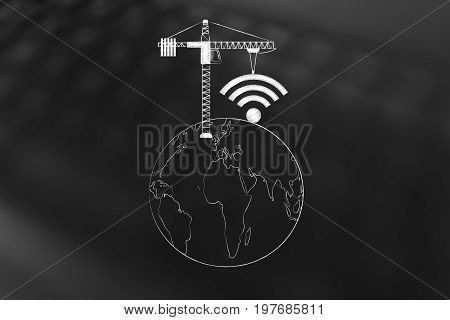 Tower Crane Building A Wi-fi Symbol On Top Of The World